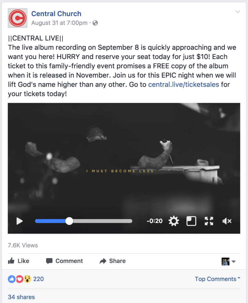 Video-based post earned 220 reactions/likes, 34 shares, and 12 comments