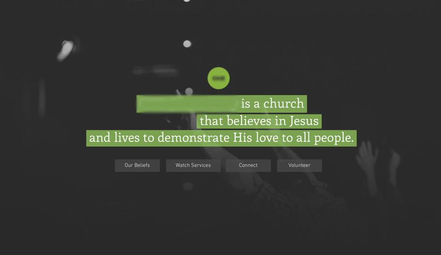 Bad Church Website Main Headline Example - Don't do this